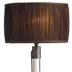 Ochre Axis Mundi table lamp (71.5cm high) in patinated bronze and glass, £708, with organza shade, £228