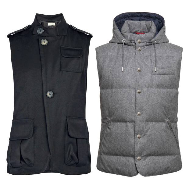 From left: Wales Bonner wool vest-jacket, £592 at Matchesfashion.com. Brunello Cucinelli wool/silk/cashmere flannel vest, £2,370