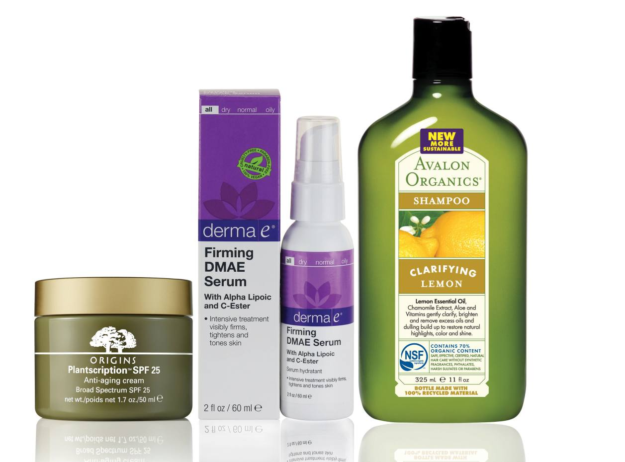 From left: Origins Plantscription Anti-aging Face Cream SPF 25, £48 for 50mml. Dermae E Firming DMAE Serum, $20.25 for 60ml. Avalon Organics Shampoo, $10.50 for 325ml