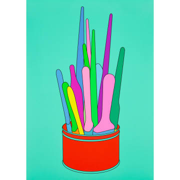 Limited edition prints of Michael Craig-Martin's Savarin Can (Turquoise) are £900 each, with proceeds going to Paintings in Hospitals
