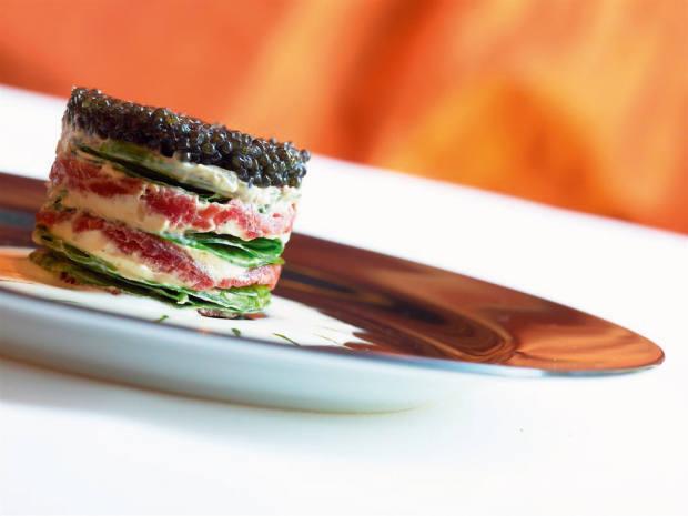 Apiciusrestaurant's millefeuille of meat and caviar