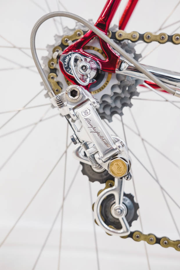 The rear derailleur from Campagnolo's 50th-anniversary groupset on Reichman's Jack Laverack Classic