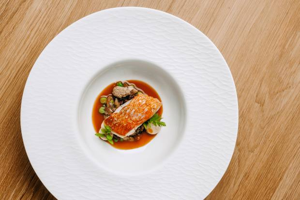 Rockfish fricassé with a stirfry of chanterelles, broad beans, marrow and clams at Epur