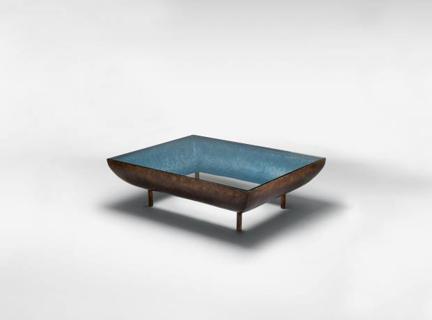 Coffee table in bronze, pearlescent paint and glass by Francis Sultana.