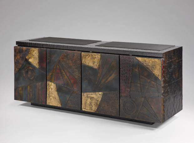 Steel, slate, wood and enamel sideboard by Paul Evans