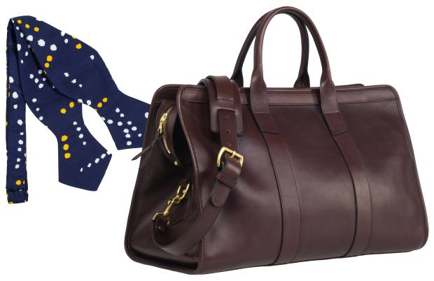 Drake's silk bowtie, $145, and Frank Clegg leather duffel bag, $1,025, both stocked atthe store