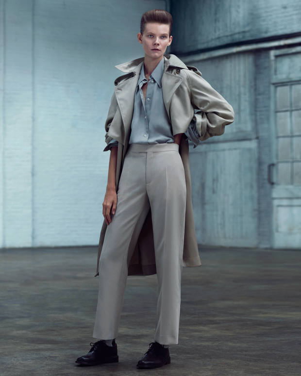 Céline cotton coat, about £2,250, viscose twill shirt, about £585, and wool-mix trousers, about £485. Socks, stylist's own. Tricker's calfskin Anne brogues, £375
