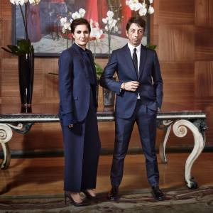 Valentino's creative directors Maria Grazia Chiuri and Pierpaolo Piccioli at the company's headquarters in Rome