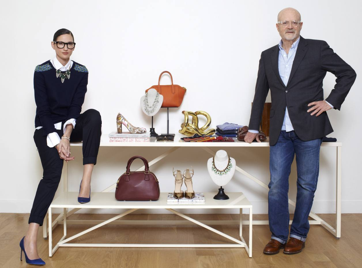 J Crew Group chairman and chief executive Millard Drexler (right) with president and executive creative director Jenna Lyons and a selection of pieces from the brand's autumn/winter collections