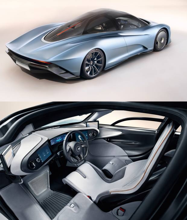 Exterior and interior of the McLaren Speedtail, which can be customised with wet‑look paintwork and uniquely patterned upholstery