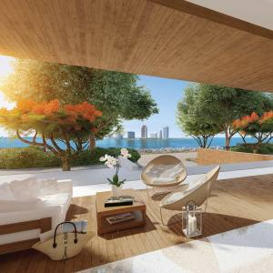 The waterfront lounge in the lobby of Palazzo del Sol, Miami, apartments from $6.5m