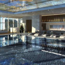 A swimming pool in the sky on the 118th floor of the new Ritz-Carlton, Hong Kong.