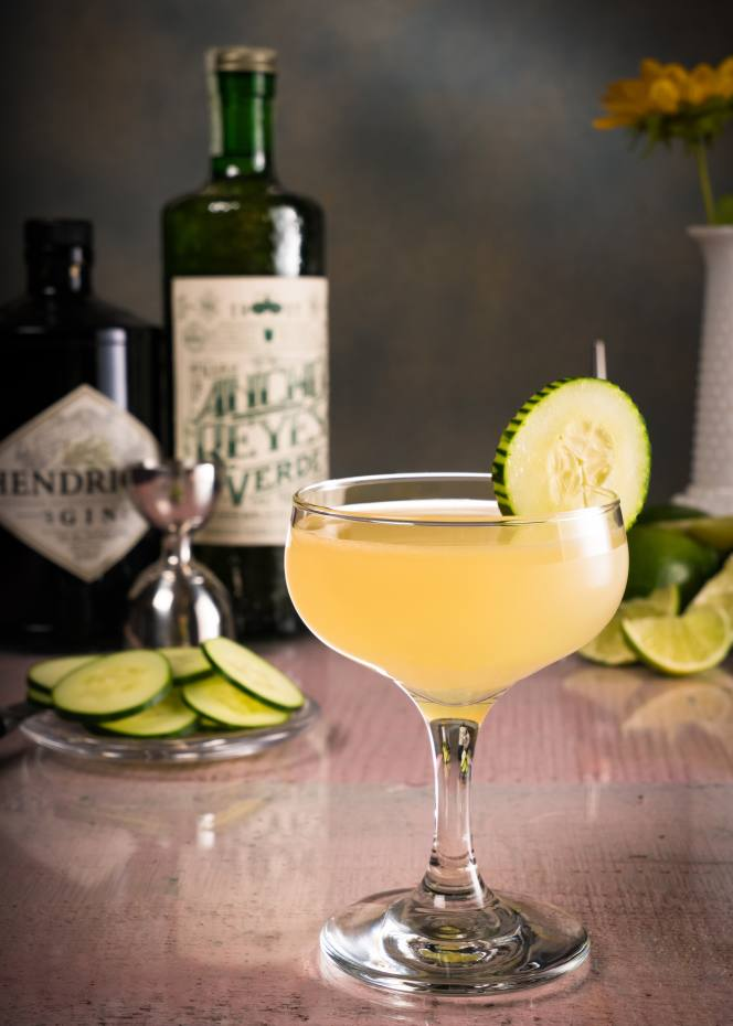 The Ancho Gimlet cocktail contains Ancho Reyes Verde, gin, lime juice and syrup
