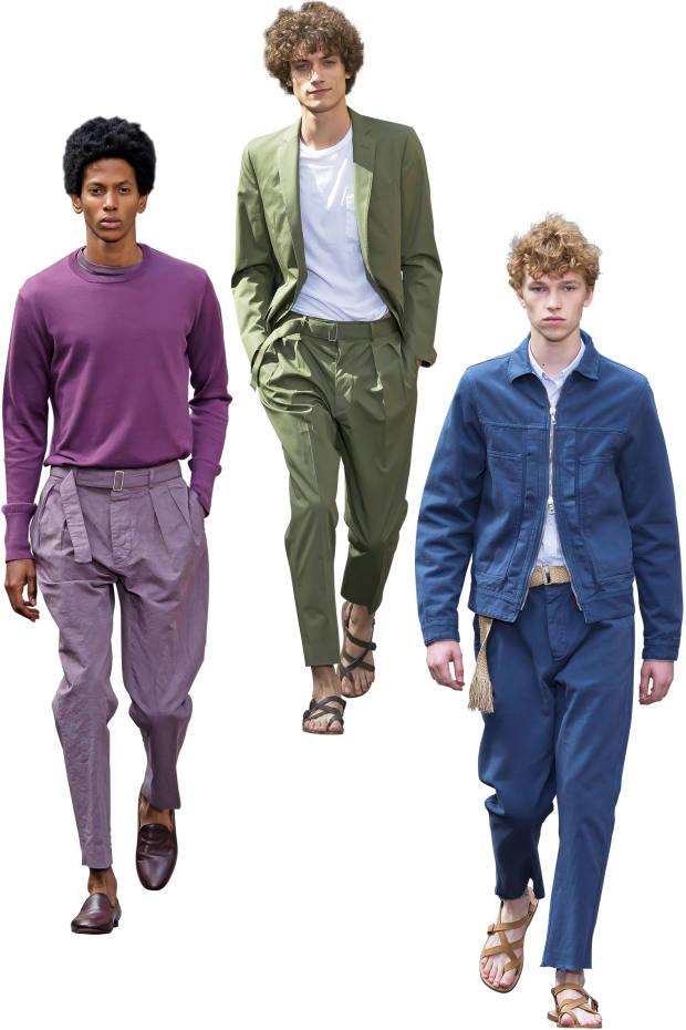 From left: Officine Générale cotton jumper, £205, cotton/linen trousers, £170, and leather slippers, £375; cotton twill jacket, £345, cotton T-shirt, £75, and cotton twill chinos, £160; and cotton Cillian jacket, £320, cotton Lipp shirt, £215, cotton field trousers, £170, and leather sandals, £170