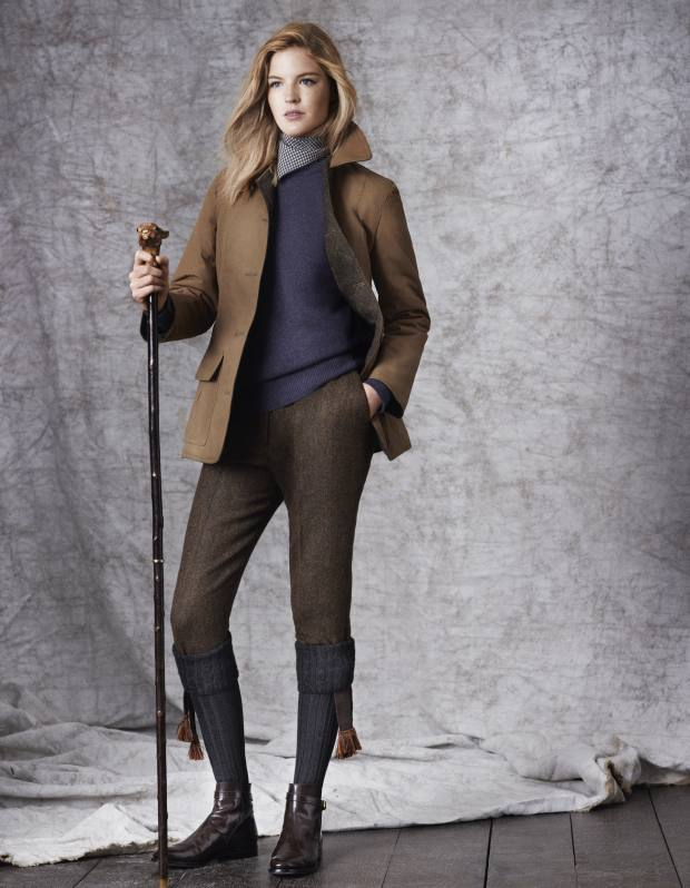 William & Son tweed and cotton jacket, £550, cashmere jumper, £295, tweed trousers, £295, wool pocket square (worn as scarf), £50, and cherry walking stick, £310