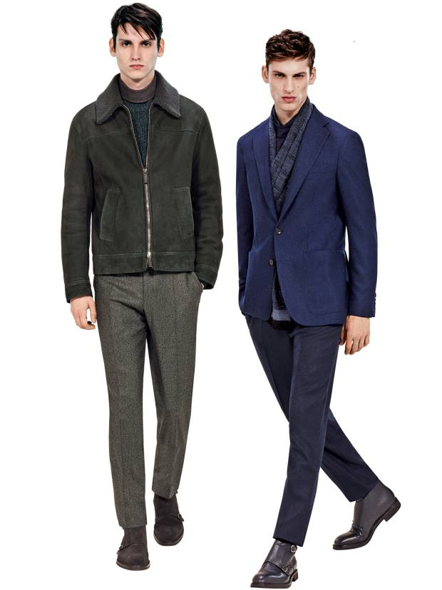 From left: Canali suede-shearling blouson, £3,850; wool blazer, £1,100, wool/cotton trousers, £280, and wool scarf, £110