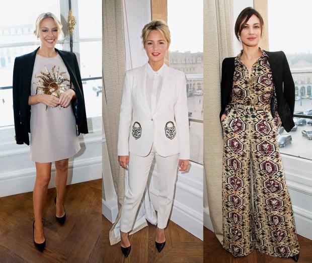 From left: Kylie Minogue in wool blazer, €5,350, and silk crepe dress, €3,500; Virginie Efira in wool piqué jacket, €5,650, matching trousers, €1,300, and silk georgette blouse, €1,400; Olga Kurylenko in wool blazer, €5,350, silk crepe blouse, €1,600, and matching trousers, €1,950