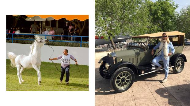 From left: One of the horses performing in thearena of the Royal Stables. The author beside the late King Hussein's vintage 1932 Morris Cowley Tourer