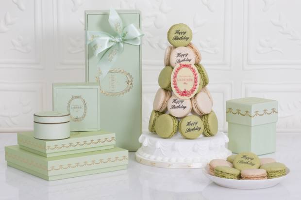 Ladurée's personalisation service allows customers to print their own messages on macarons, £2.85 each