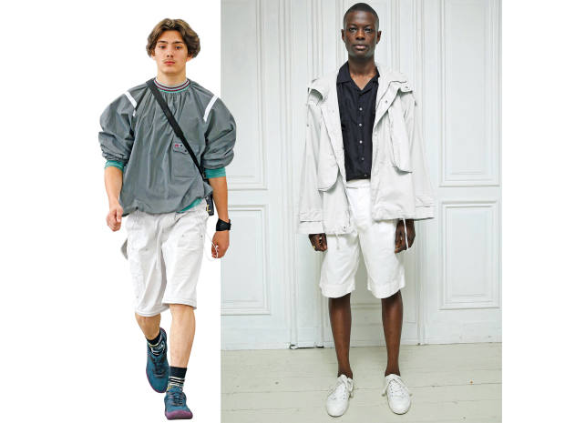 From left: Lanvin technical-cotton-poplin top, £565. Katharine Hamnett organic cotton Lionel parka, £550, and matching shorts, £165