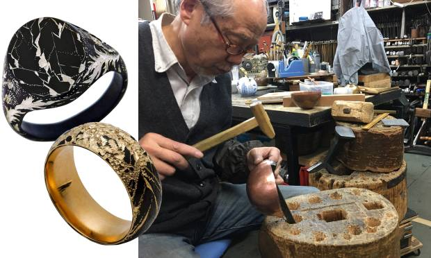 From left: Castro gold and black rhodium band, £810, and black rhodium-plated silversignet ring, £1,215. Master metalworker Sensei Kenji, who taught engraving to jeweller Castro Smith