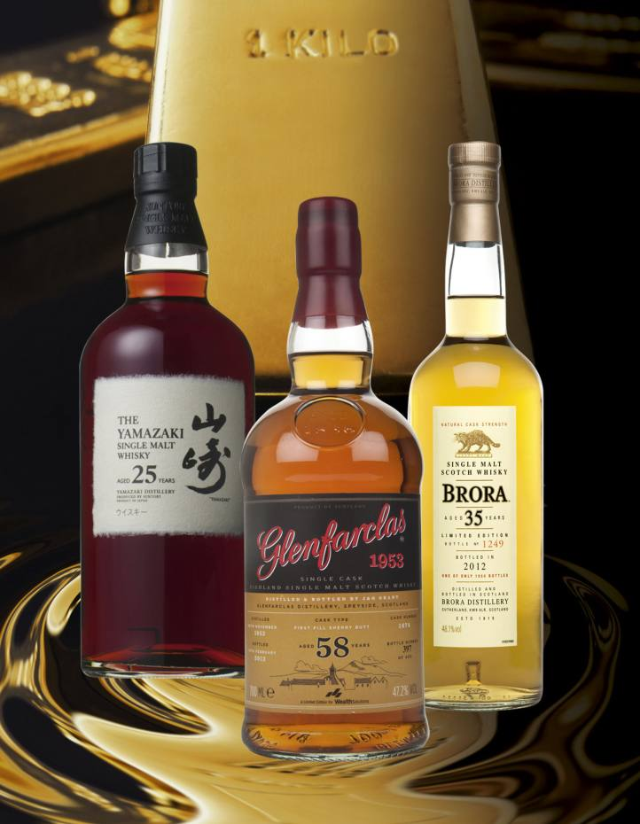 From left: 25-year-old The Yamazaki, £599. The 58-year‑old Glenfarclas, £5,995. A 35-year-old Brora, around £400