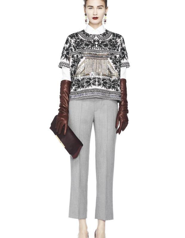 Embellished merino-wool Jemima Popover top, £878, wool trousers, £130, and haircalf clutch, £347