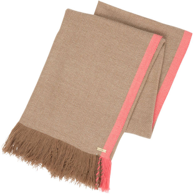 The scarves' bright-pink edge is made without harmful dye chemicals, and residues are collected rather than entering rivers