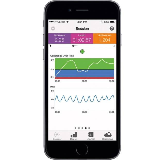 The Heartmath Inner Balance app monitors coherence between breathing and heart rate