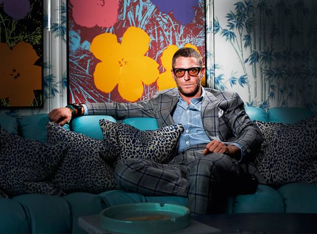 Lapo Elkann at his home in Milan