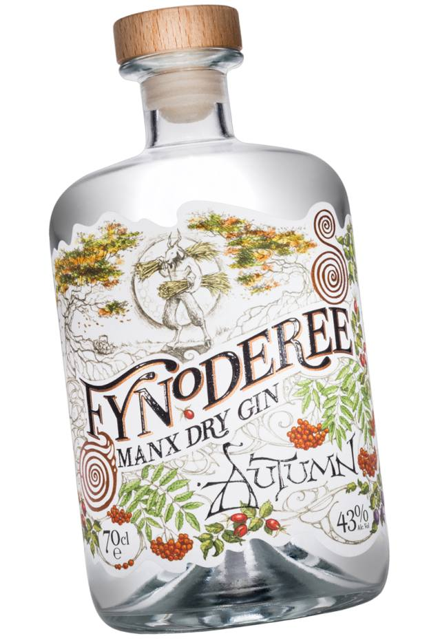 Fynoderee Manx Dry Gin Autumn edition, £36 for 70cl, comes in an attractive apothecary-style bottle with an illustrated label