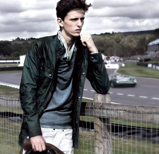 Model wears wax-cotton Woodcote jacket, £475, cotton jersey Collins sweater, £175, and stretch‑denim Chichester jeans, £175, all by GSR by Belstaff