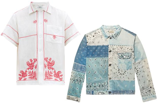 From left: Bode embroidered cotton bowling shirt, £385. Kapital cotton trucker jacket, £395
