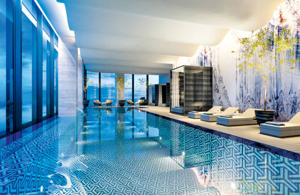 The luxury spa pool at the Westbund Hotel in Shanghai's new arts and culture district
