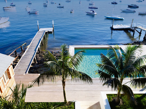 The view of the jetty at Gaelforce, a harbourside house in Sydney's Palm Beach, available to rent for A$35,000 (about £20,800) in peak weeks