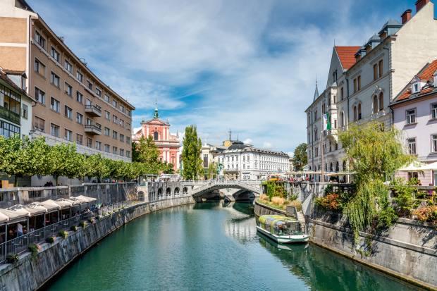 Ljubljanica River flows through the centre of Ljubljana, Slovenia