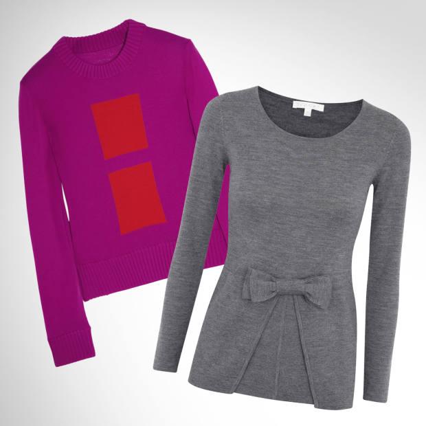 From left: Maison Martin Margiela intarsia-knit wool sweater, £400. Paule Ka fine-wool sweater, £320
