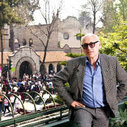 Michael Nyman on his balcony in La Colonia Roma.