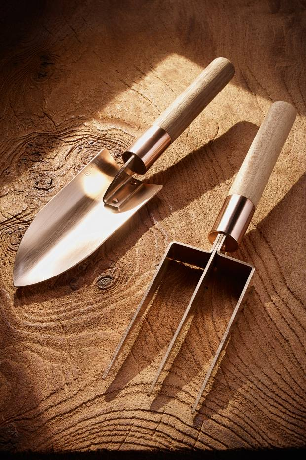 Grafa bronze trowel and fork, £45 each