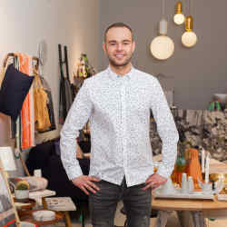 Pavel Klimczak at his design concept store, Monologue London