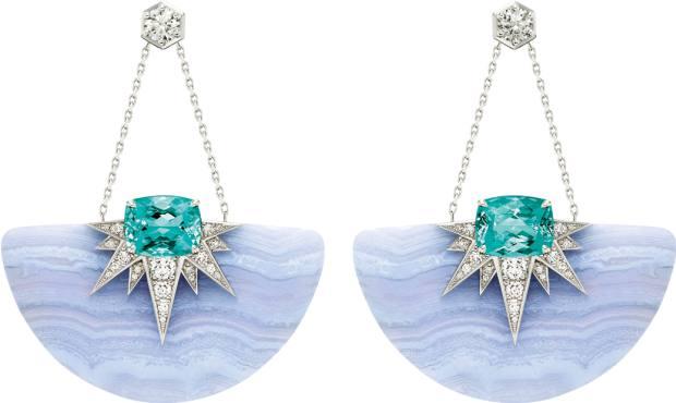 Piaget diamond, tourmaline and chalcedony white sun earrings, £107,000