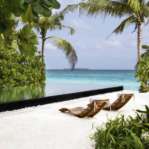 An infinity pool at Cheval Blanc Randheli in the Maldives, opening November 15th 2013