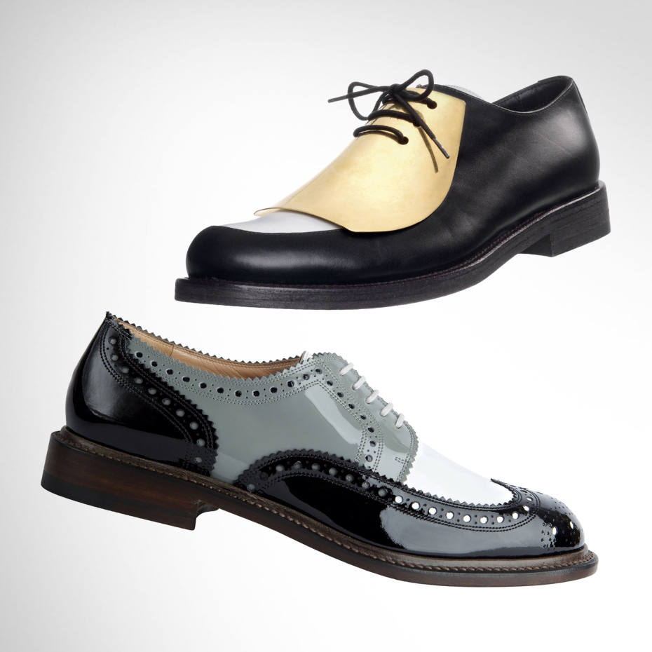 From the top: Céline leather lace-ups, €890. Robert Clergerie patent‑leather brogues, £450