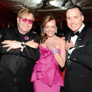 Sir Elton John, Chopard co-president and artistic director Caroline Scheufele and David Furnish at the Elton John Aids Foundation Academy Awards Viewing Party