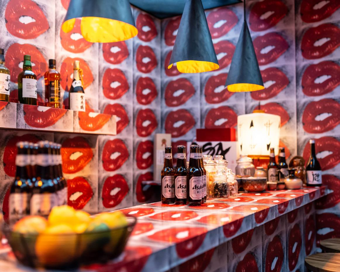 Daido Moriyama's pop-up Lip Bar has been installed in the corner of Selfridges' Duke Street window where guests can enjoy sake and other beverages
