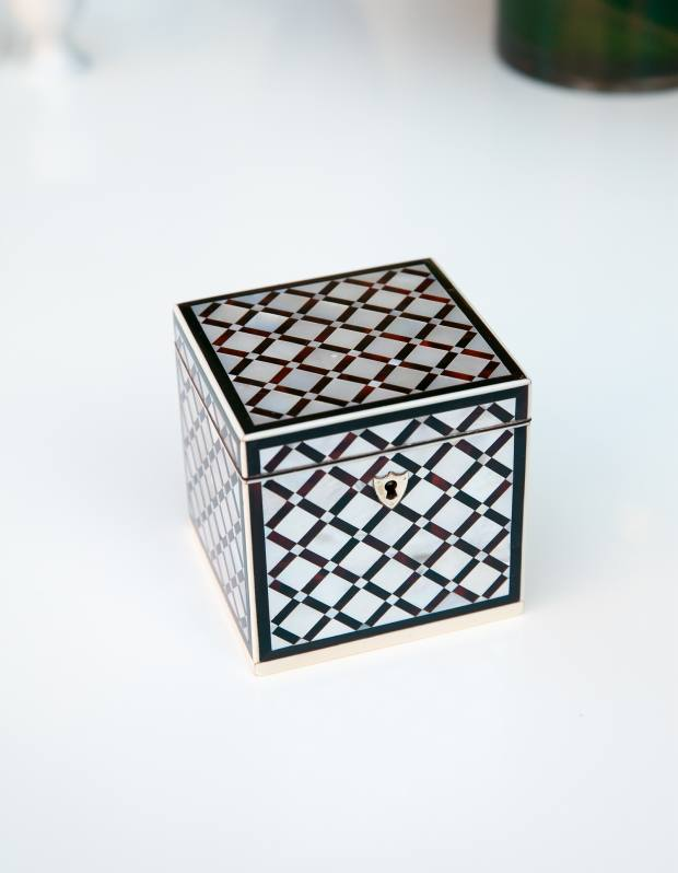An antique mother-of-pearl tea caddy from Mostly Boxes