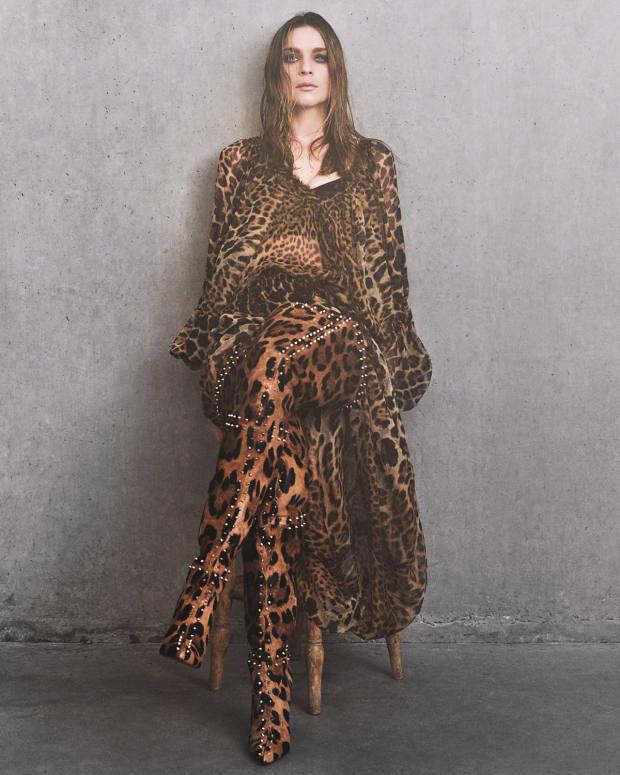 Saint Laurent by Anthony Vaccarello silk dress, £2,795.Christian Louboutinstudded calfskinMetrolisse boots,£2,395