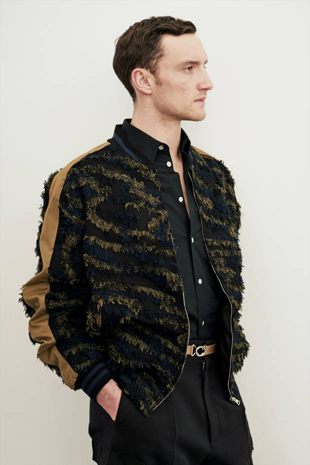 Cotton bomber jacket, £1,325, cotton shirt, £240, cotton trousers, £320, and elastic belt, £180