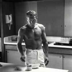 Steve McQueen enjoying a cup of coffee