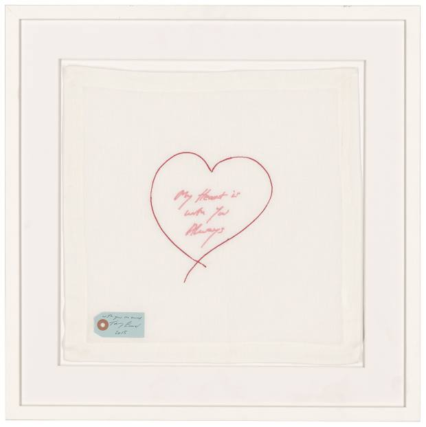 Tracey Emin's My Heart Is With You Always linen napkin artwork, estimate £1,000-£2,000